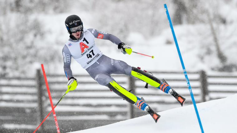 Clement Noel on his way to his first World Cup top-10 finish, eighth place, at Kitzbuehel in January 2018