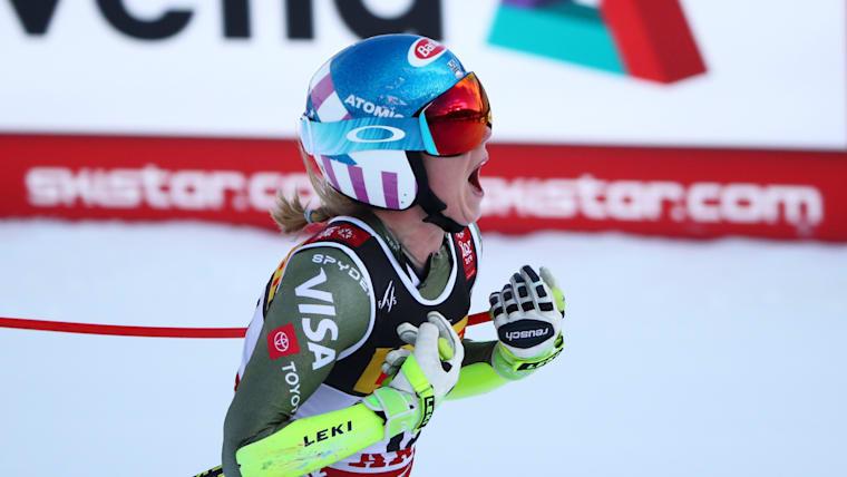 Mikaela Shiffrin celebrates her winning run at the World Championship Super-G in Are