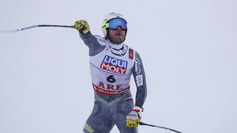Kjetil Jansrud celebrates after his winning run in the World Championship downhill at Are
