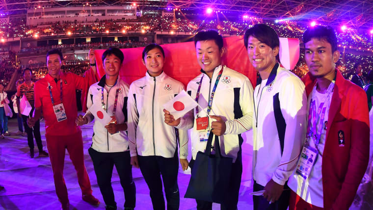 Six-time gold medallist Rikako Ikee at the Asian Games Closing Ceremony in Jakarta