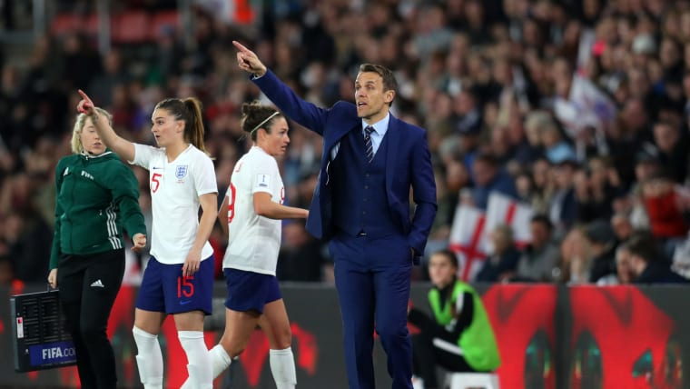 England coach Phil Neville during the home World Cup qualifier against Wales in April 2018