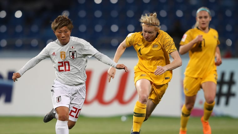 Japan's Kumi Yokoyama during the 2018 Asian Cup Final against Australia in Amman