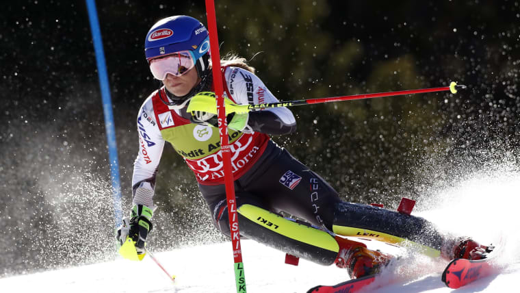 Mikaela Shiffrin in action during the slalom at the World Cup Finals in Soldeu, Andorra