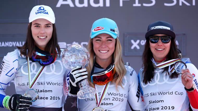 World Cup slalom series podium (L-R): runner-up Petra Vlhova, winner Mikaela Shiffrin, third-placed Wendy Holdener