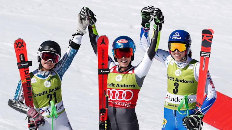 Soldeu giant slalom podium (L-R): runner-up Alice Robinson, winner Mikaela Shiffrin, third-placed Petra Vlhova