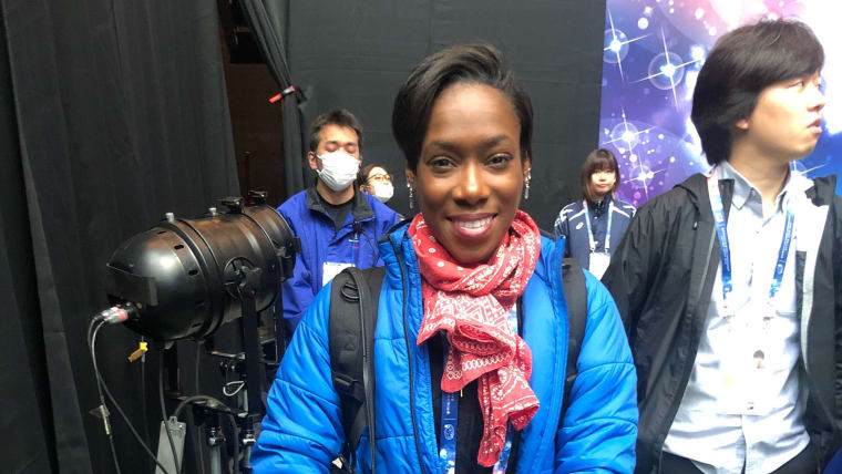 Vanessa James poses after a difficult short program