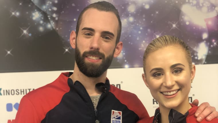 Ashley Cain and Timothy LeDuc pose after their free skate