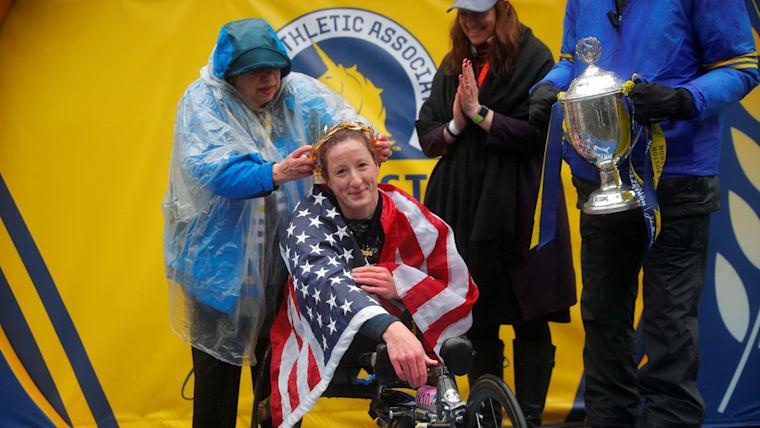 Tatyana McFadden after winning her fifth Boston Marathon women's wheelchair race in 2018