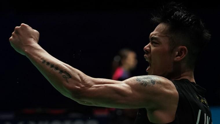 Lin Dan celebrates his Malaysia Open semi-final win over fellow Chinese shuttler Shi Yuqi