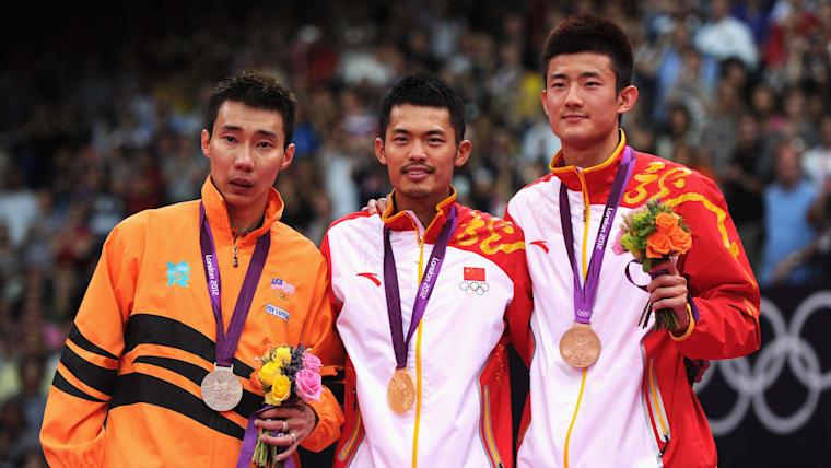 London 2012 men's singles badminton podium (L-R): silver medallist Lee Chong Wei, champion Lin Dan, bronze medallist Chen Long