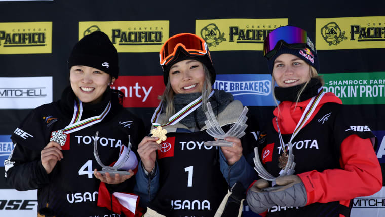 World Snowboard Halfpipe podium (L-R): runner-up Cai Xuetong, winner Chloe Kim, third-placed Maddie Mastro