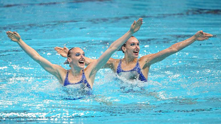 Svetlana Romashina and Natalia Ishchenko compete at the 2011 World Aquatics Championships in Shanghai