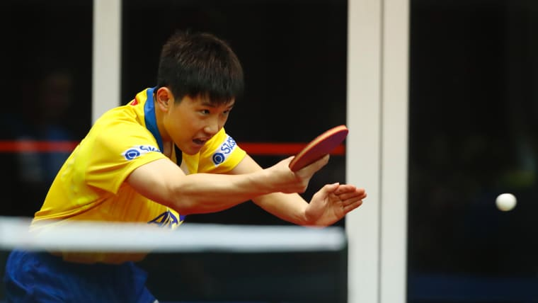 Tomokazu Harimoto practises in Budapest ahead of the World Table Tennis Championships