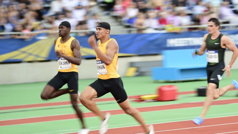 Michael Norman wins the 2018 Paris Diamond League 200m from USC team-mate Rai Benjamin