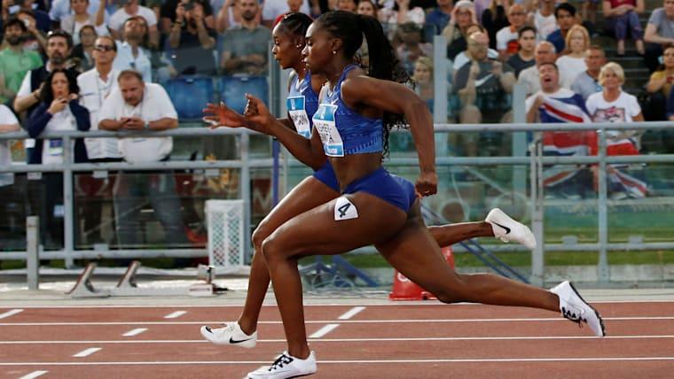 Elaine Thompson (L) beats Dina Asher-Smith in the Rome Diamond League 100m