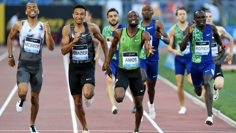 Donovan Brazier edged out Nijel Amos to win the Rome Diamond League 800m