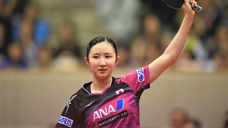 早田ひな(写真はジャパンOP荻村杯2018)は、張本智和と共に混合ダブルスで準優勝を果たした