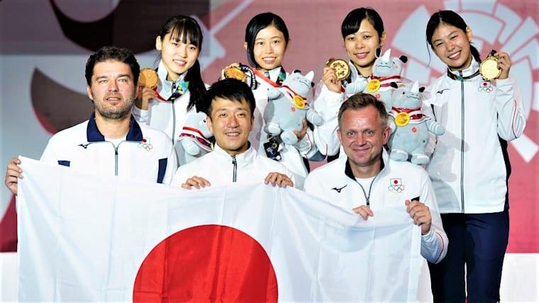 女子フレール団体の日本チームは、アジア選手権初優勝を果たした(写真はアジア大会2018)