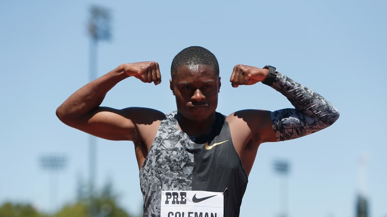 Christian Coleman celebrates victory in the 100m at the 2019 Prefontaine Classic in Stanford
