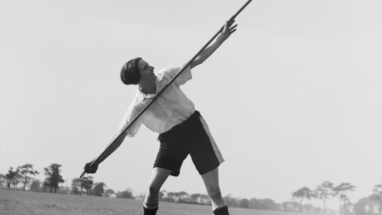 Lily Parr with a javelin while training with Preston Ladies in 1935