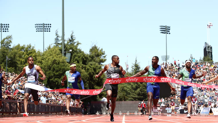 Christian Coleman pips Justin Gatlin to win the men's 100m during the Prefontaine Classic at Cobb Track & Angell Field on June 30, 2019 in Stanford, California. (Photo by Ezra Shaw/Getty Images)