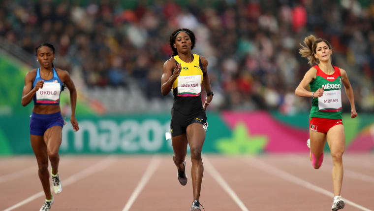 Shericka Jackson of Jamaica (C) wins in Women's 400m Final on Day 13 of Lima 2019 Pan American Games at Athletics Stadium of Villa Deportiva Nacional on August 08, 2019 in Lima, Peru. (Photo by Patrick Smith/Getty Images)
