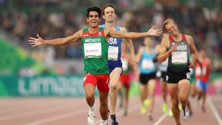 Jose Carlos Villareal of Mexico wins Men's 1500m Final on Day 13 of Lima 2019 Pan American Games at Athletics Stadium of Villa Deportiva Nacional on August 08, 2019 in Lima, Peru. (Photo by Patrick Smith/Getty Images)