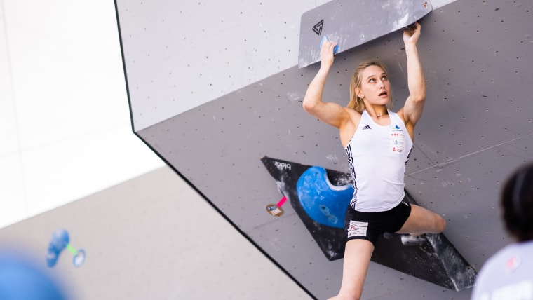 Janja Garnbret on her way to victory in the bouldering IFSC World Cup event in Vail, Colorado in June (photo courtesy of IFSC)