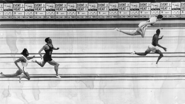 Milkha Singh (far left), in an image from the Rome 1960 400 metres photo finish