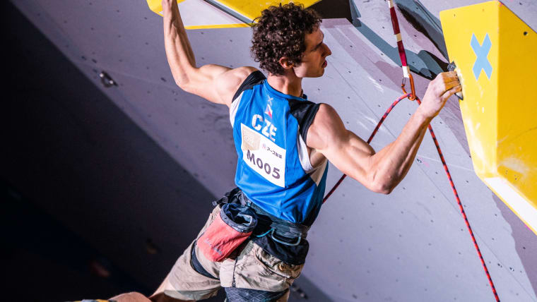 Adam Ondra on his way to the lead title at the 2019 IFSC Climbing World Championships in Hachioji, Japan (photo courtesy IFSC/Daniel Gajda)