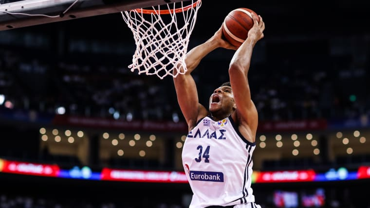 Giannis Antetokounmpo Giannis slams during the 2019 FIBA World Cup in China.