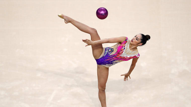 Alexandra Agiurgiuculese competing in the ball at the European Games in Minsk