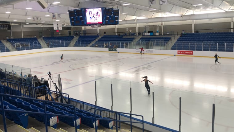 The first group of skaters practising in the Sixteen Mile Sports Complex in Oakville, Ontario for the Autumn Classic International