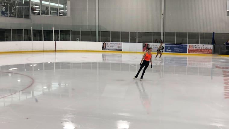 Evgenia Medvedeva in practice on Friday at the Autumn Classic International