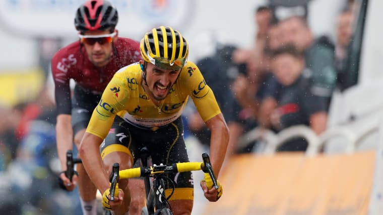 Julian Alaphilippe in yellow during Stage 15 of the 2019 Tour de France