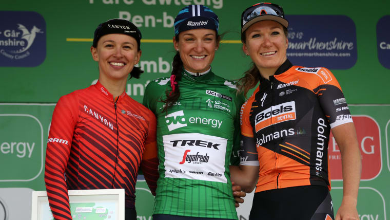 Women's Tour podium (L-R): runner-up Katarzyna Niewiadoma, winner Lizzie Deignan, third-placed Amy Pieters