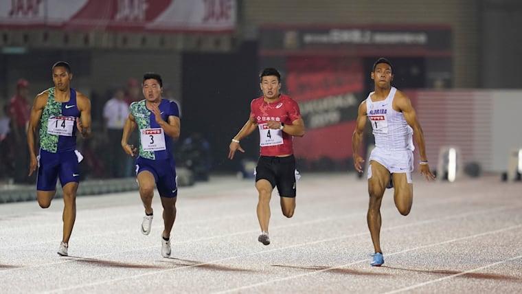 Abdul Hakim Sani Brown (#1) wins the 100m at the 2019 Japanese Championships in Fukuoka from Yoshihide Kiryu (#4) and Yuki Koike (#3)