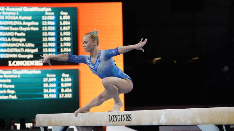 Angelina Melnikova performs on balance beam at the 2019 World Championships (Photo: Olympic Channel)