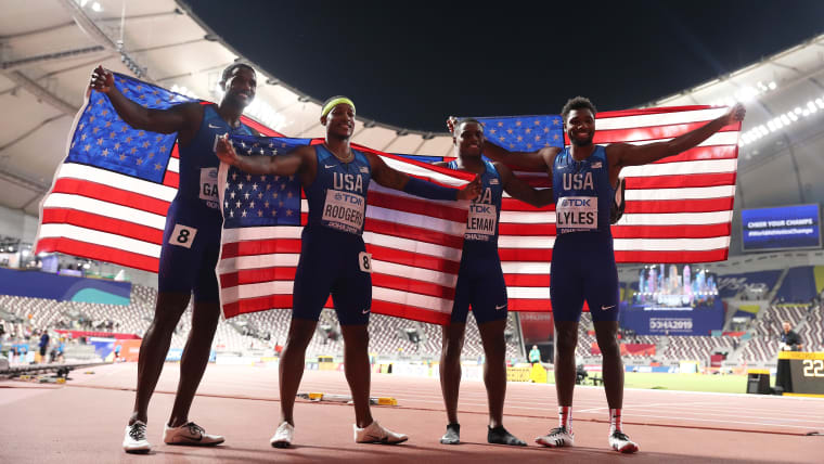 USA's victorious men's 4x100 relay team (L-R): Justin Gatlin, Michael Rodgers, Christian Coleman, Noah Lyles