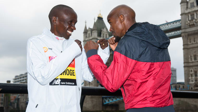 Eliud Kipchoge and Mo Farah square up to each other in a photo session ahead of the 2019 London Marathon