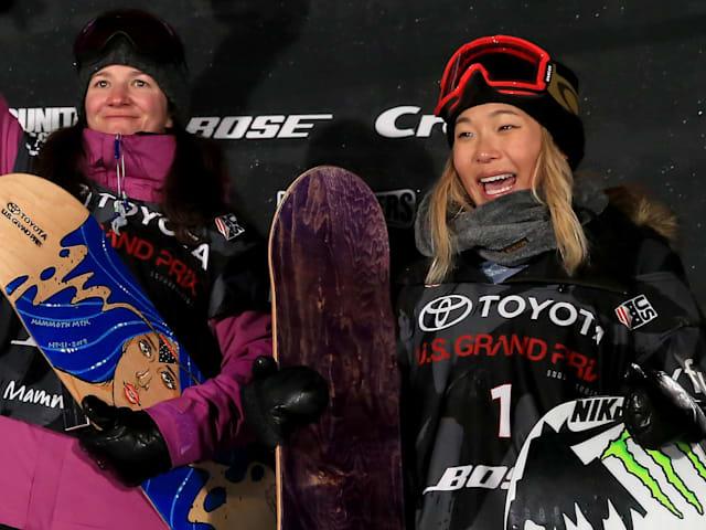Chloe Kim and her snowboard hero