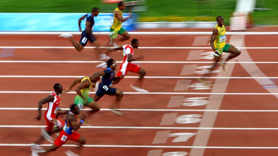 Usain Bolt of Jamaica wins the 100m at Beijing 2008