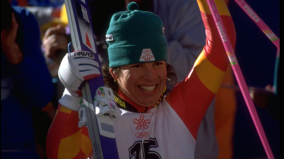 Vreni Schneider during the 1988 Winter Olympics in Calgary, Canada