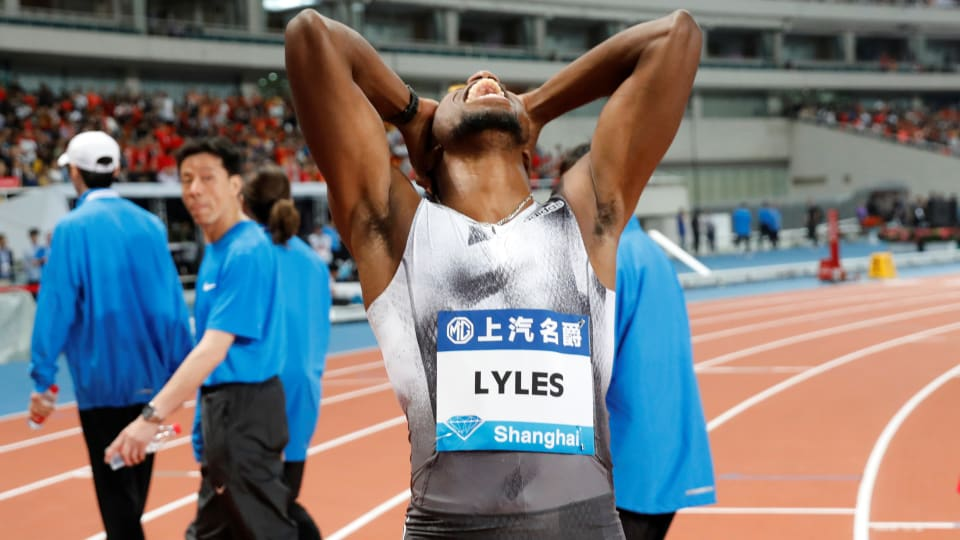 Noah Lyles reacts in disbelief after winning the men's 100m in Shanghai (Reuters)