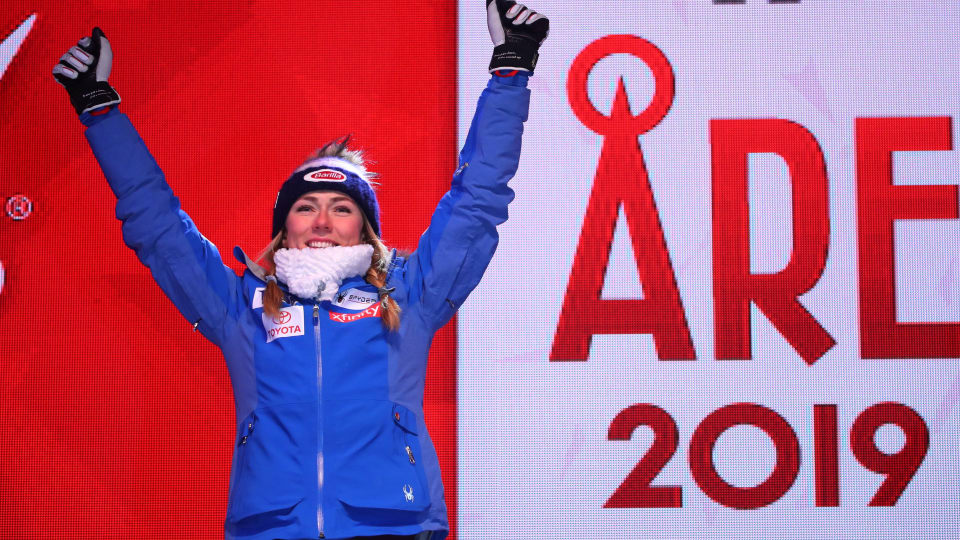 Mikaela Shiffrin won four gold medals in 2019 at the Alpine World Ski Championships in Åre. (REUTERS/Denis Balibouse)