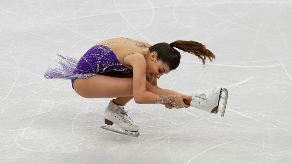 Russia's Sofia Samodurova in action during her free skate that helped her claim the European title in Minsk (Reuters)