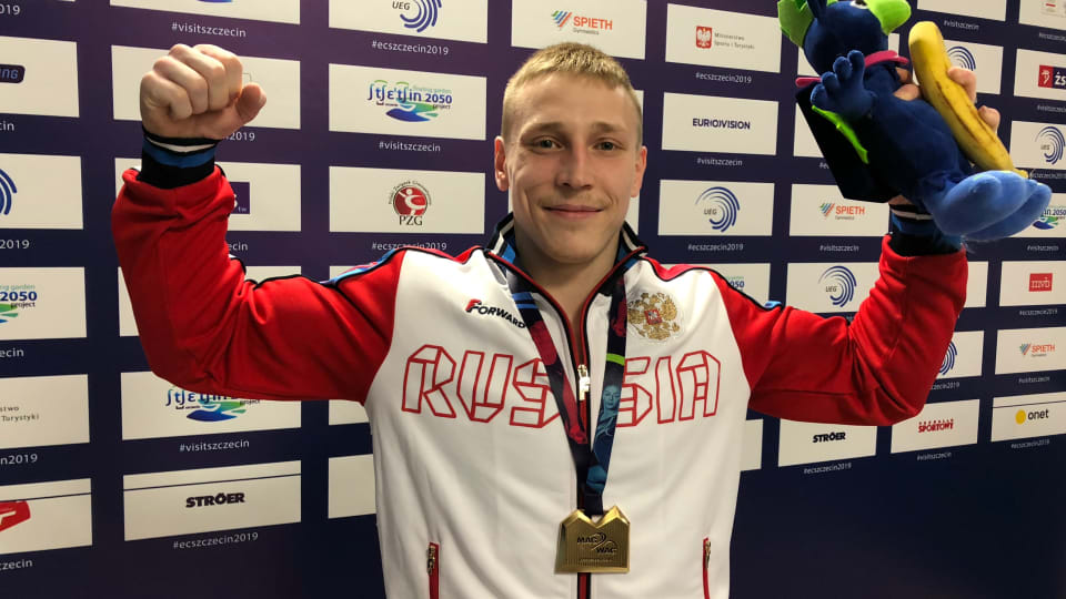 Denis Ablyazin after winning vault gold at the 2018 European Championships