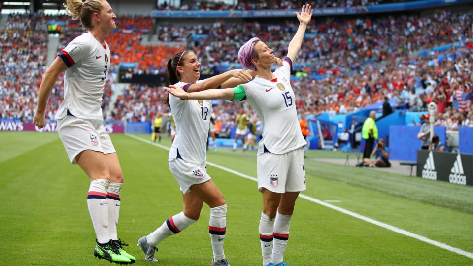 Megan Rapinoe celebrates after scoring the opening goal of the final from the penalty spot