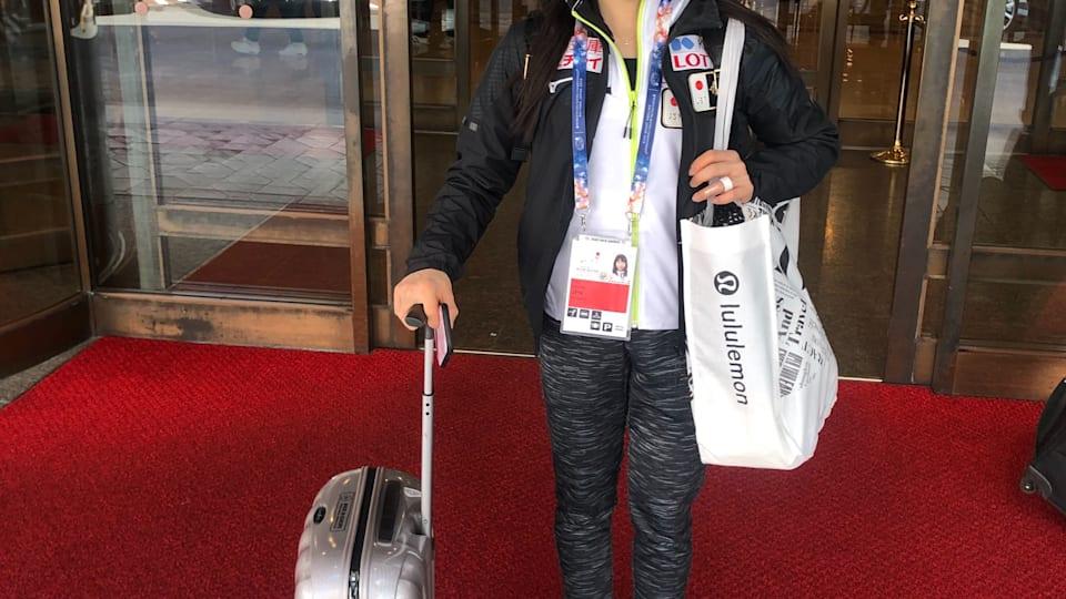 Japanese star Rika Kihira heads to practice ahead of ladies' short program