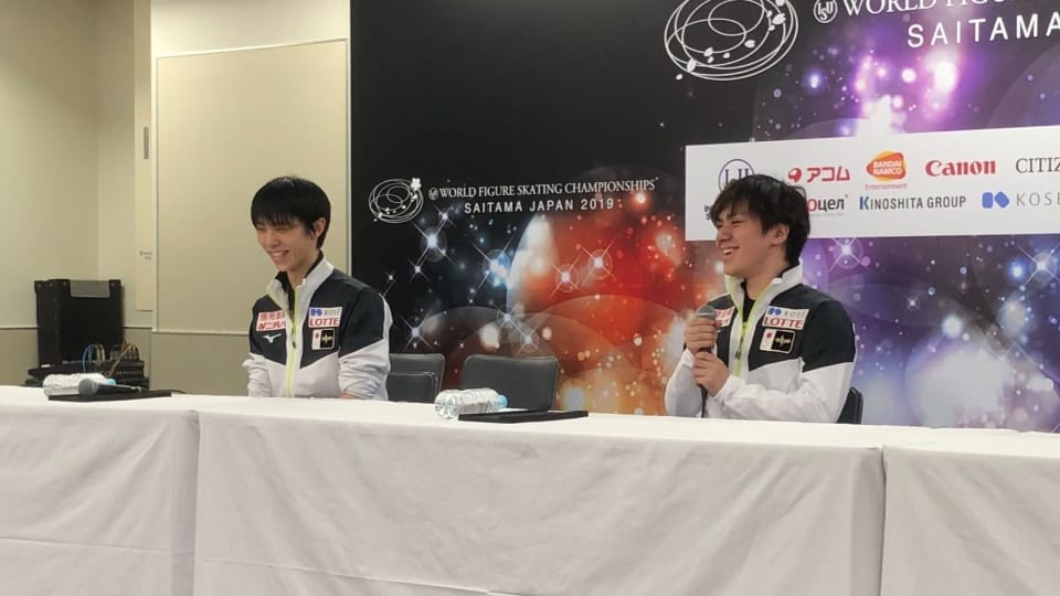 Shoma Uno laughs during Team Japan press conference